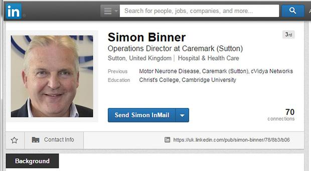 The LinkedIn profile of Simon Binner, a terminally-ill businessman who used the networking site to announce the date of his death today.