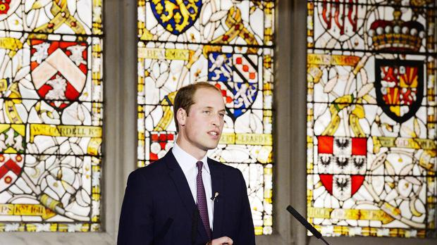 The Duke of Cambridge delivers his speech to a live audience of students, and the largest Chinese TV station, CCTV1