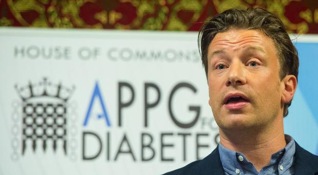 Jamie Oliver speaks at a meeting of the All Party Parliamentary Group for Diabetes