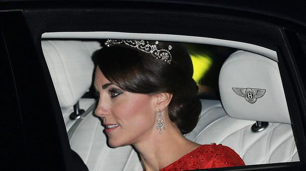 The Duchess of Cambridge arriving for the state banquet