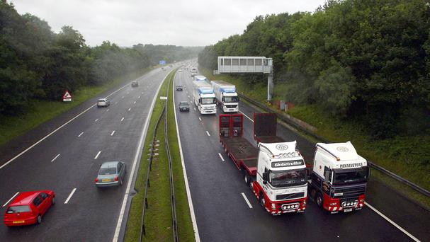 The tanker overturned on the M56