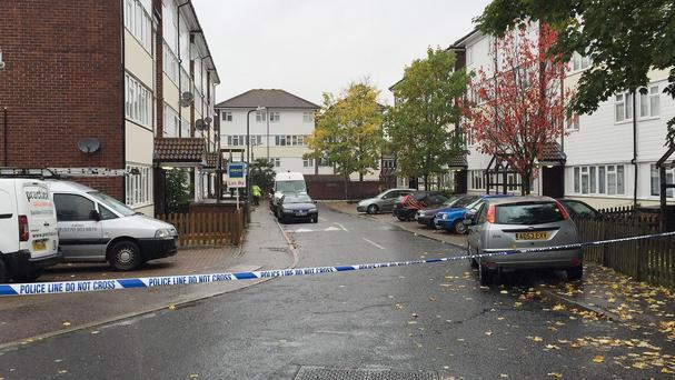 A police cordon in Basildon, Essex, as detectives investigate the death of a man who was stabbed in the street