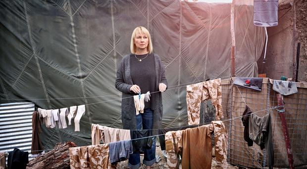 An image taken by war photographer Robert Wilson of Sarah Adams merged with an original photo from Afghanistan (SSAFA/PA)