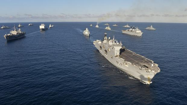 Warships line up as they take part in Exercise Trident Juncture 2015 in the western Mediterranean (Royal Navy/PA)
