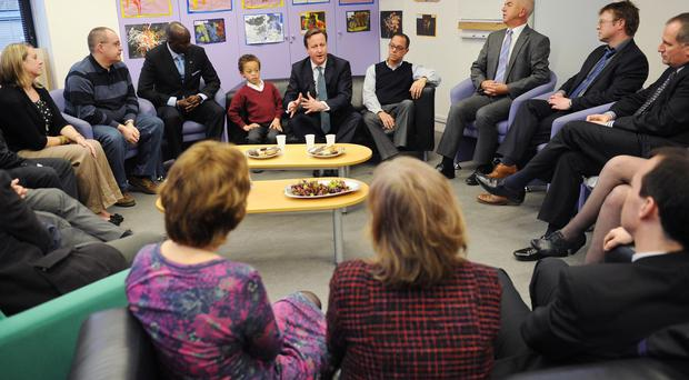David Cameron meeting parents who have or are about to adopt children at South Acton Children's Centre