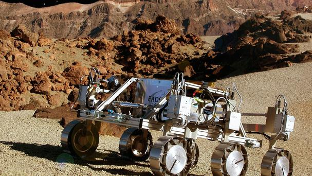 The Mars rover studied the rocks on the Red Planet.