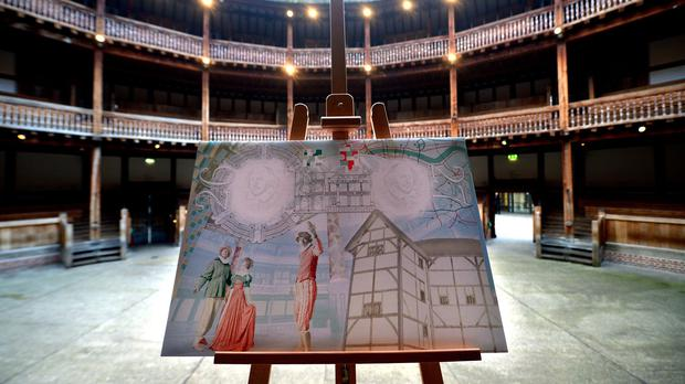 The new passport design is unveiled at Shakespeare's Globe theatre in London