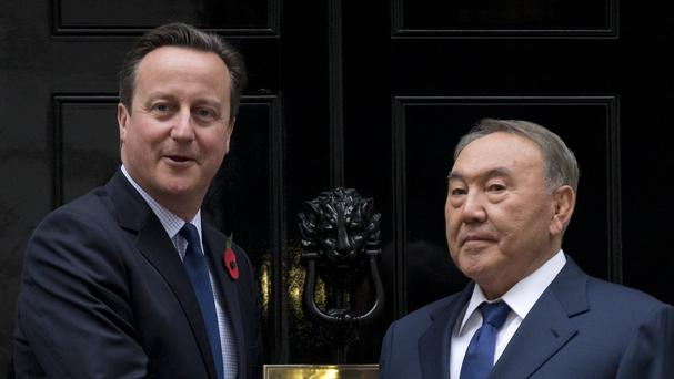 David Cameron met Nursultan Nazarbayev at 10 Downing Street. (AP)