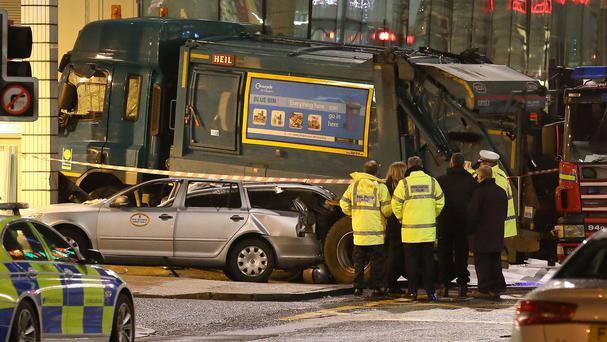 The scene of the bin lorry crash