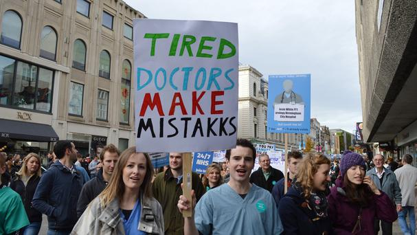 Junior doctors and their supporters taking part in a march in Newcastle against plans for a new contract