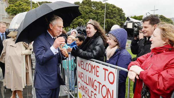The Prince of Wales talks to members of the public outside the National War Memorial in Wellington
