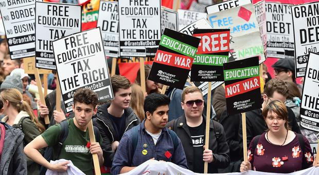 Students during a Westminster protest calling for the abolition of tuition fees and an end to student debt