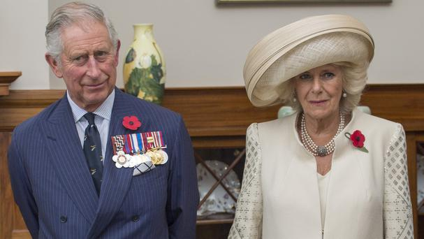 Charles and Camilla laughed off a too-close-for-comfort encounter with a bumble bee