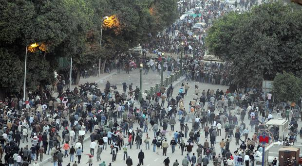 Mass protests in Cairo which began Egypt's political upheaval in 2011
