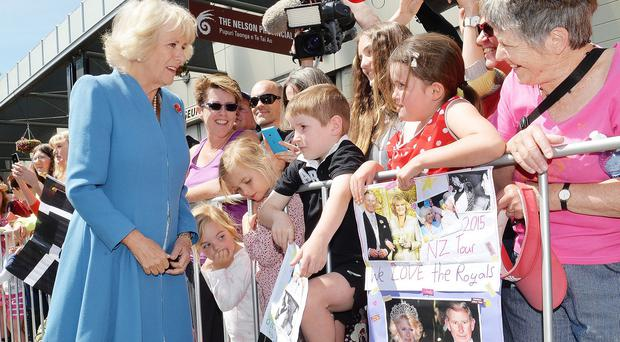 Camilla meets the locals during a walkabout in Nelson