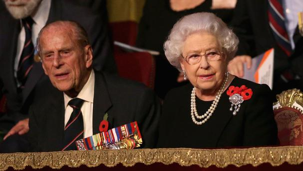 The Duke of Edinburgh and Queen during the annual Royal British Legion Festival of Remembrance at the Royal Albert Hall in London