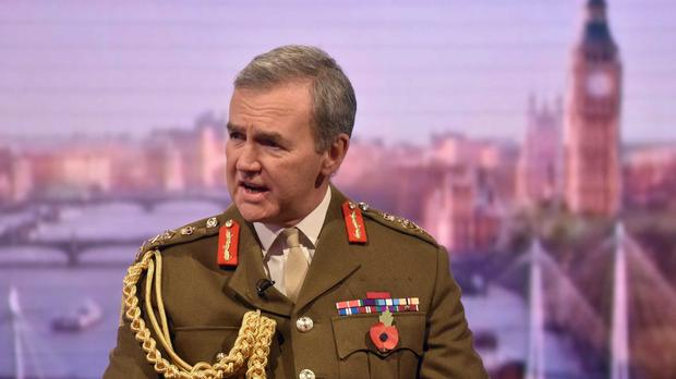 Defence Secretary Michael Fallon is facing calls to rein in General Sir Nicholas Houghton, pictured, after he criticised Jeremy Corbyn's policy on Trident