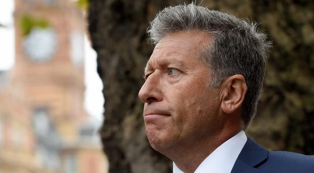 DJ Neil Fox arrives at Westminster Magistrates' Court in London, where he is standing trial accused of a string of sex offences