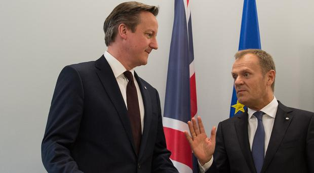 David Cameron is writing to European Council president Donald Tusk, right, setting out his EU reform agenda