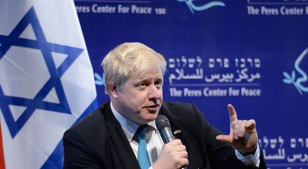 Mayor of London Boris Johnson meets with former Israeli Prime Minister Shimon Peres at his offices in Tel Aviv, Israel, at the start of a four day trade visit to the region.