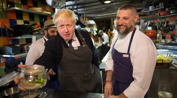 Boris Johnson during a visit to Mahane Yehuda market in Jerusalem