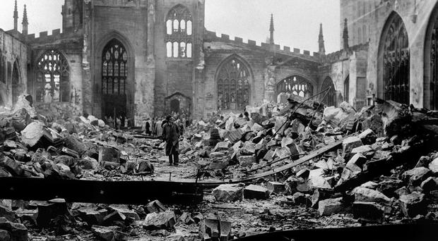 The ruins of Coventry Cathedral after the Medieval building was destroyed by Luftwaffe bombs