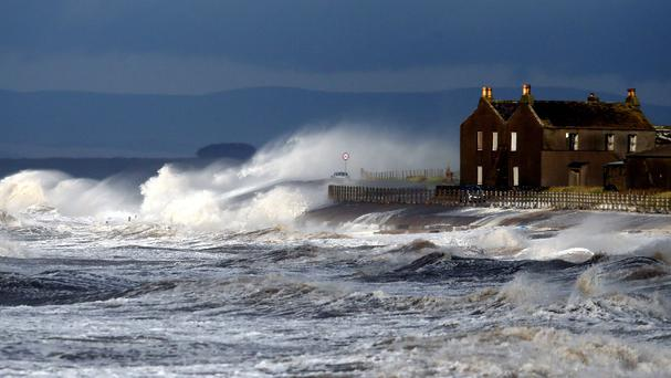 Gale force winds blowing off the Sea at Allonby in Cumbria ahead of flood warnings being issued