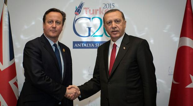 British Prime Minister David Cameron holds a meeting with Turkish President and G20 host, Recep Tayyip Erdogan