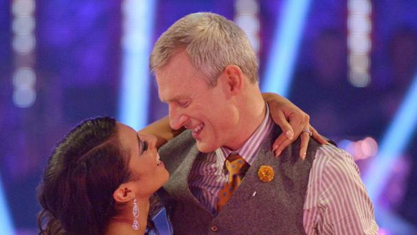 Jeremy Vine with his dance partner Karen Clifton after they were voted off the BBC1 programme Strictly Come Dancing (BBC)