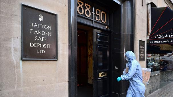 A police forensics officer at the scene of the Hatton Garden Safe Deposit heist