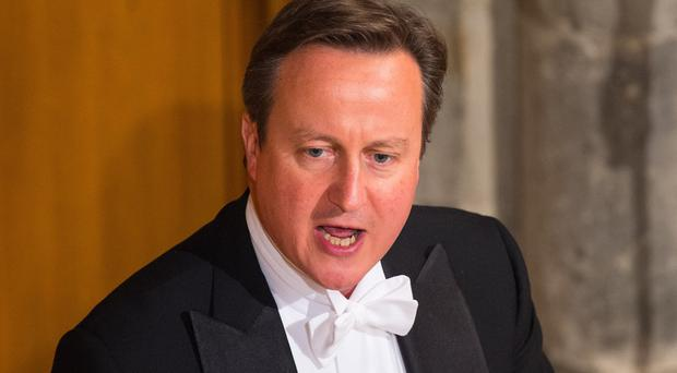 Prime Minister David Cameron speaks at the Lord Mayor's Banquet