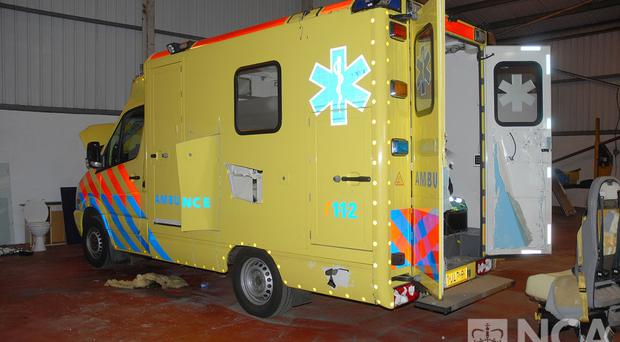 The fake ambulance was used to smuggle cocaine, heroin and ecstasy into the UK, Birmingham Crown Court was told