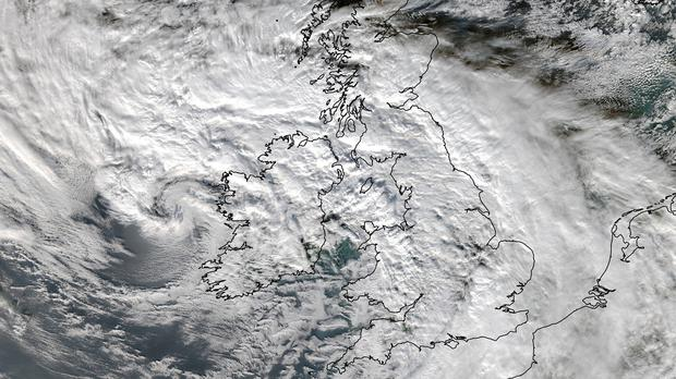Satellite image issued by the University of Dundee of Storm Barney's cloud system that blanketed the UK and Ireland