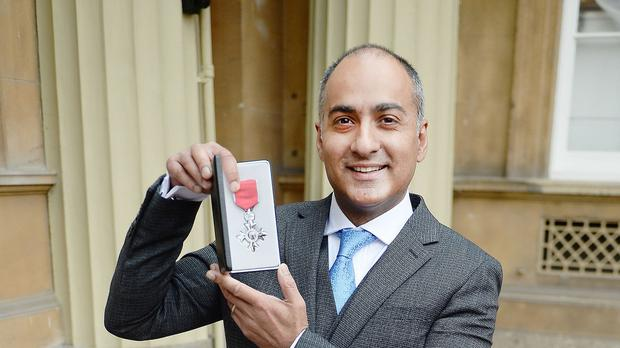 Zia Chaudhry was awarded an MBE at Buckingham Palace