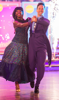 Jamelia and Tristan MacManus on Strictly, and (below) being hugged by a fellow contestant