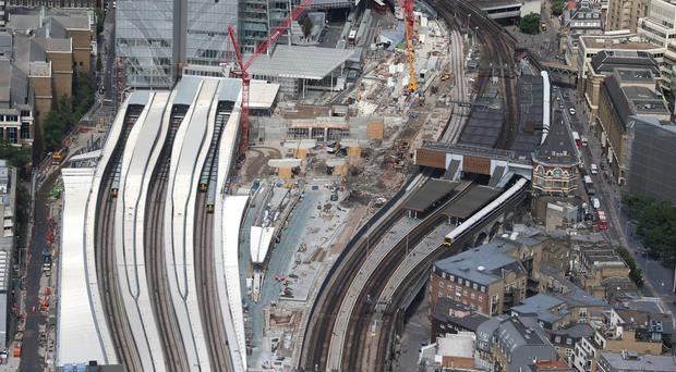 Network Rail's redevelopment at London Bridge station, with a construction site as long as the Shard is tall