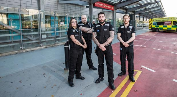 Security staff, from left, Zoe, Pete, Steve and David at Birmingham's Queen Elizabeth Hospital (Channel 5/PA)
