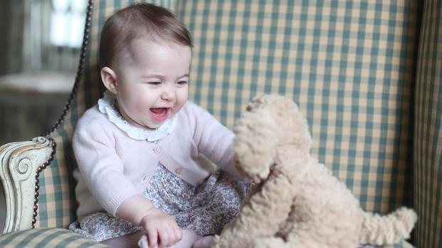 Princess Charlotte with her cuddly toy dog (The Duchess of Cambridge/PA)