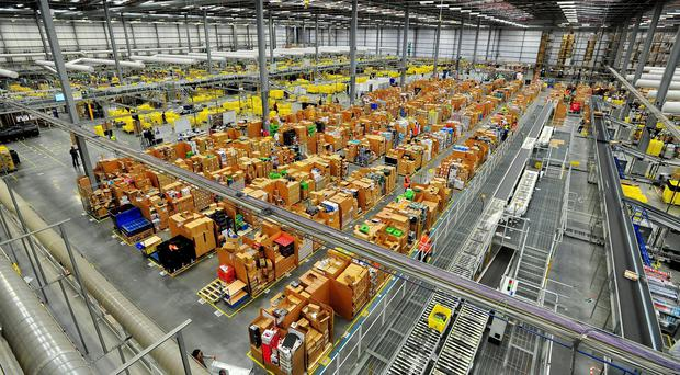 Amazon's Hemel Hempstead warehouse, as shoppers are expected to spend almost £1 billion online during Cyber Monday