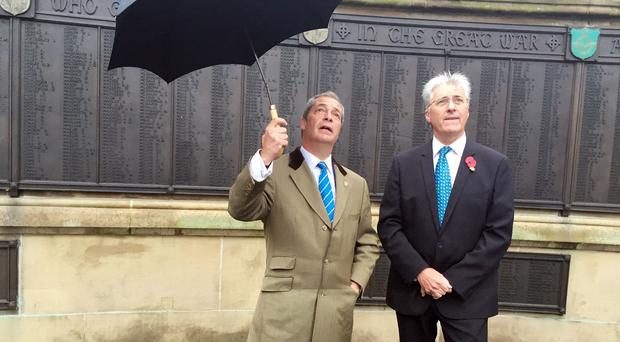 Nigel Farage and John Bickley on the campaign trail in Oldham