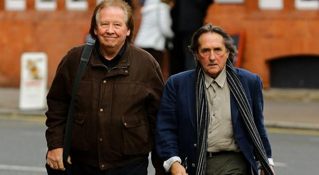 Richard Westwood (left) and Leonard Hawkes, former members of the 1960s band The Tremeloes, arrive at Chester Magistrates' Court