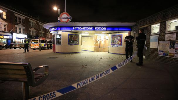 Police outside Leytonstone Underground Station