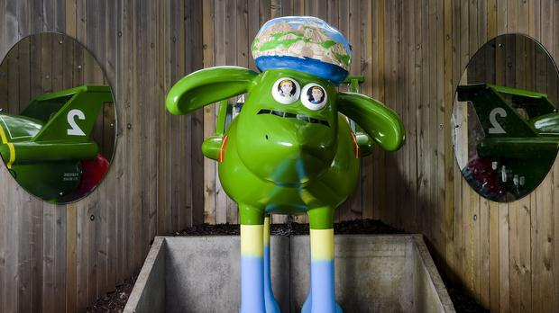 A sculpture of Shaun the Sheep titled Thunderbirds Are Go