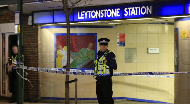 Police outside Leytonstone station in east London