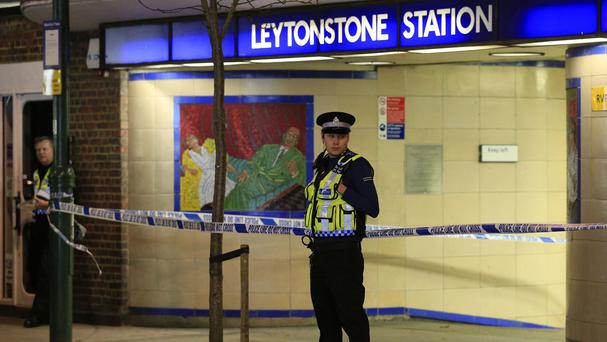 Police outside Leytonstone station in east London after the attack