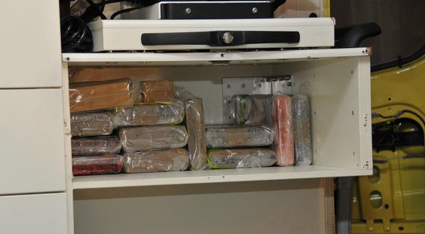 Drugs stashed inside a fake ambulance used to smuggle cocaine, heroin and ecstasy into the UK (National Crime Agency/PA)