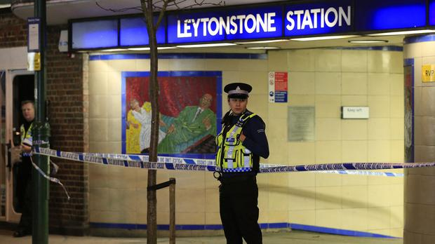 Police outside Leytonstone station following the attack