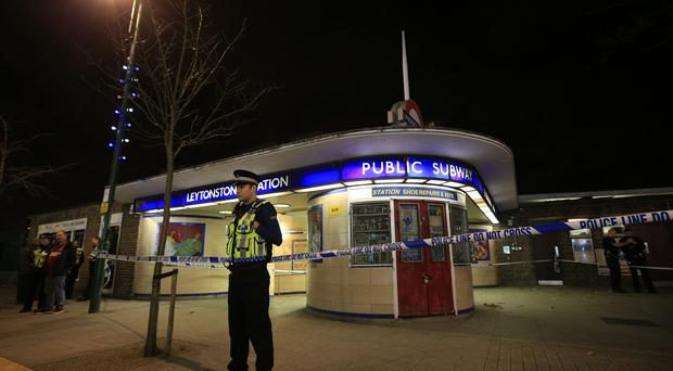Police outside Leytonstone Tube station where the attack happened
