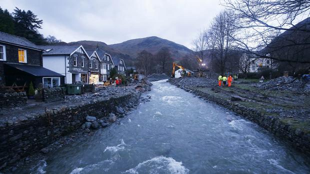 Glenridding after the river in the town in Cumbria burst its banks