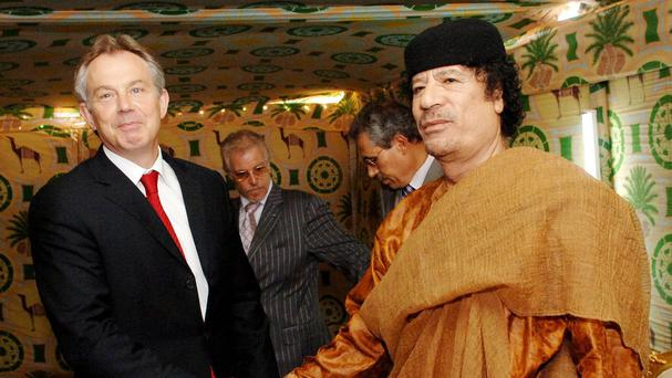 Tony Blair and Muammar Gaddafi meeting at the late Libyan leader's desert base